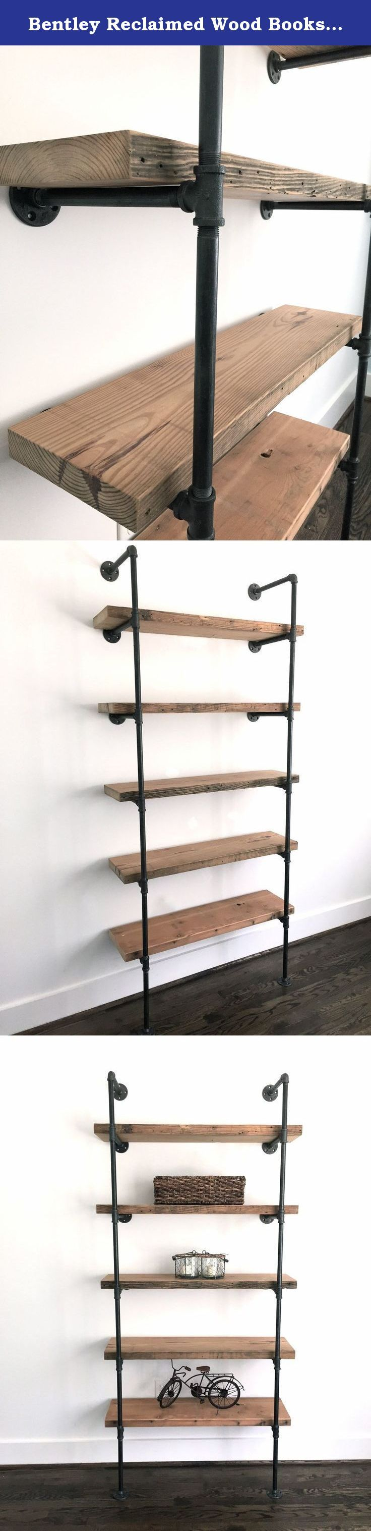 Bentley Reclaimed Wood Bookshelf. Industrial cool, meet sleek storage. Pack all of your favorite stuff onto the Bentley Bookshelf. Made from thick reclaimed wood floor joists from a demolished factory in Baltimore, MD and industrial piping. This unit attaches to the wall for stability with standard screws through the flange holes. Sits flush against the wall. (Note: you need to screw through at least one flange connector on each side of the pipe frame, but you do not need to screw through...