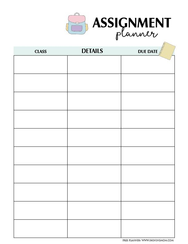 Geeky image regarding printable homework planner