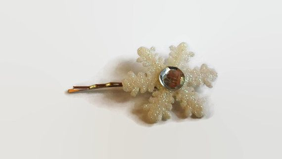Snowflake Bobby Pins Upcycled Barrettes Christmas Hair Accessories Womens Hair Clips Hair Slide Holiday Hair Accessory Girls Hair Pin