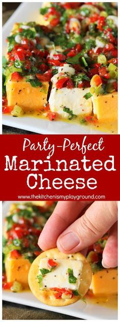 Marinated cheese - colorful, beautiful, absolutely delicious, and always the hit of the party. The perfect #partyfood for any occasion! #cheese #appetizers www.thekitchenismyplayground.com