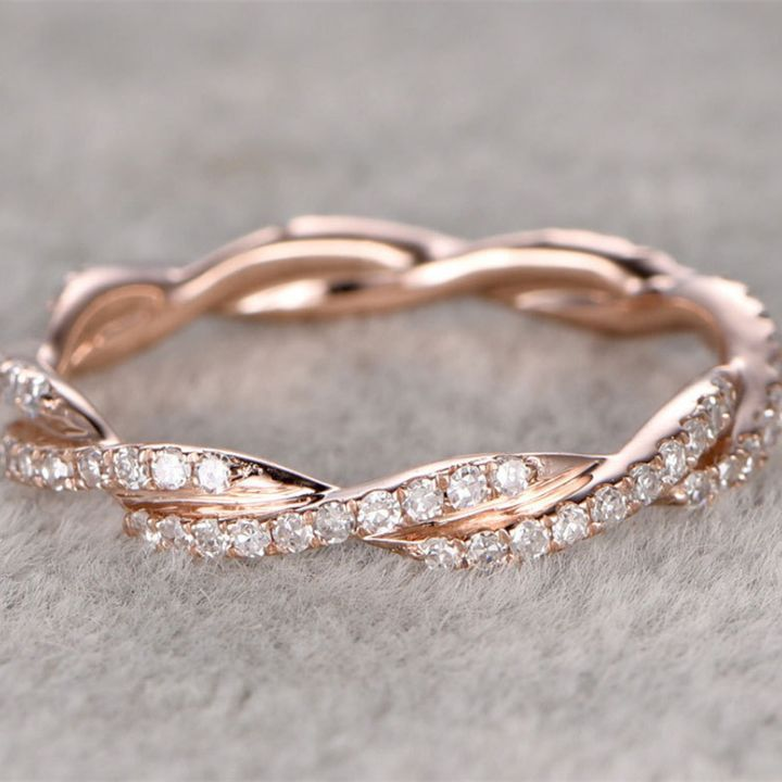 Ring For Women 0.38ctw Round Cut Solid 14K Rose Gold Anniversary Ring Stackable Ring Gemstone Ring Female Wedding Bands