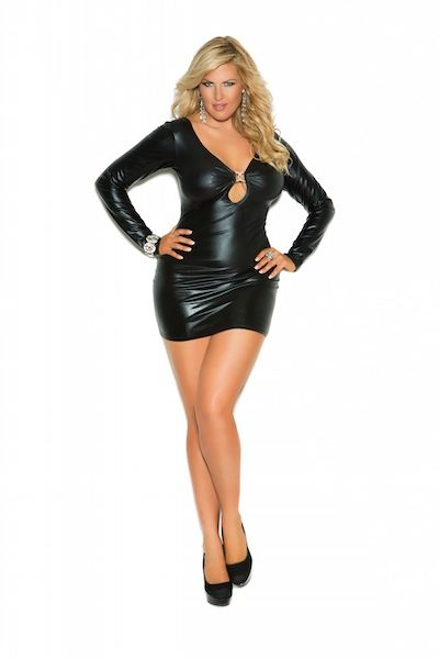 plus size wet look dress