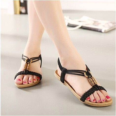 Women Cross Ankle Strap Sandals Open Toe Platform Beach Shoes-(Black-38/7.5 B(M) US Women)