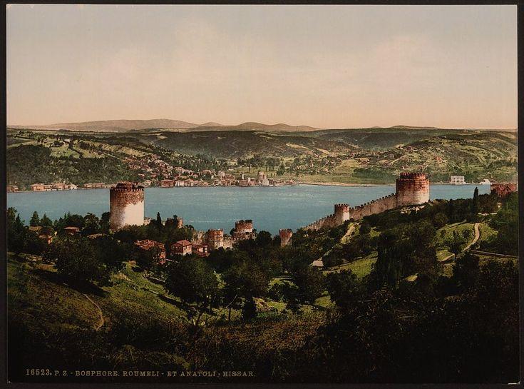 Bosphorus ( Bosporus), Rumeli and Anadali-Hissar, (Anadolu Hisarı) Constantinople, Turkey. Between 1890 and 1900.