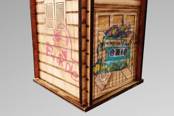 """""""Inner City Birds"""" urban birdhouse. Laser etched and graffiti tagged. $70 #wood #birdhouse #laser #graffiti"""
