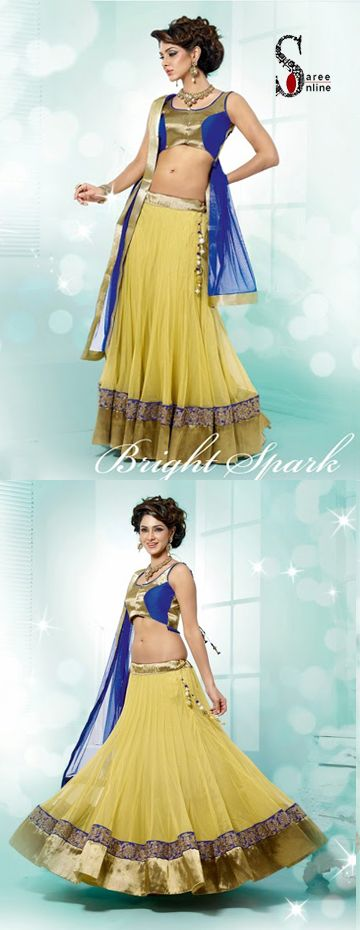 $109.00 Fashionable Light yellow lehenga with blue net dupatta. I love this look for summer!  http://www.sareeonline.com/proj/gallery/fullview.aspx?scode=rhl310