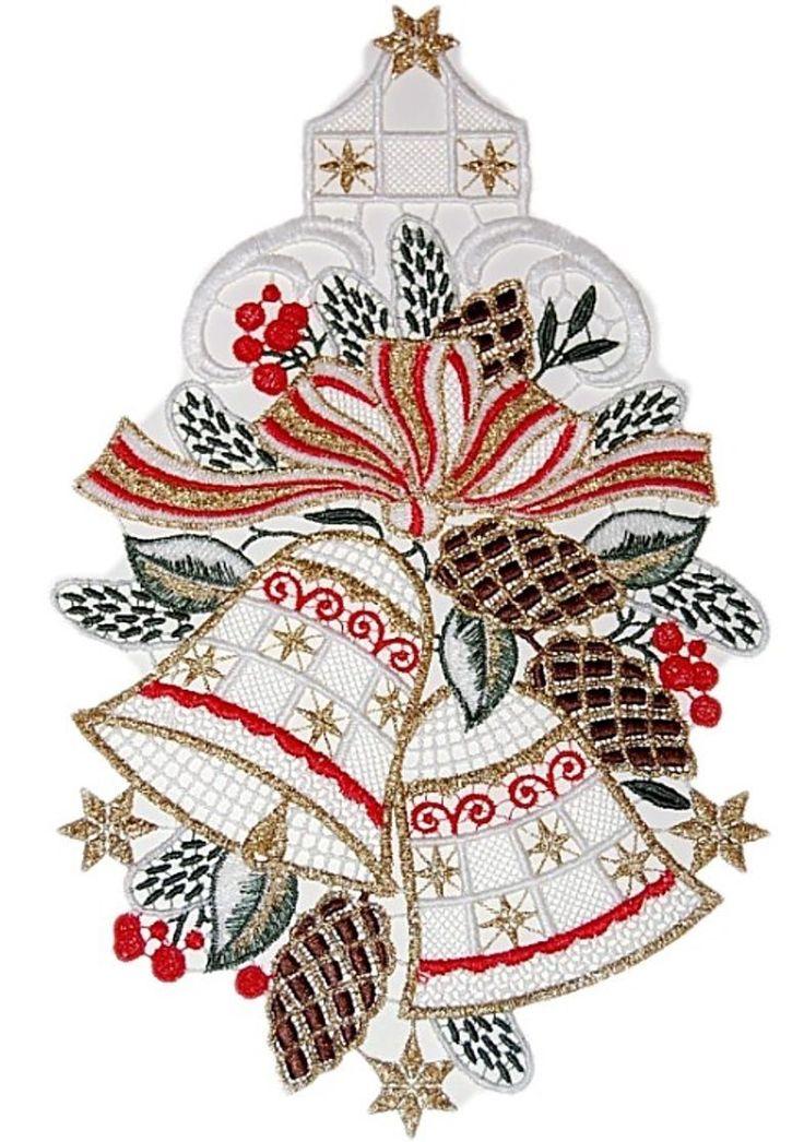 Details Zu Fensterbild PLAUENER SPITZER 17x29 Cm Weihnachten Glocken Tannenzapfen ROT Gold