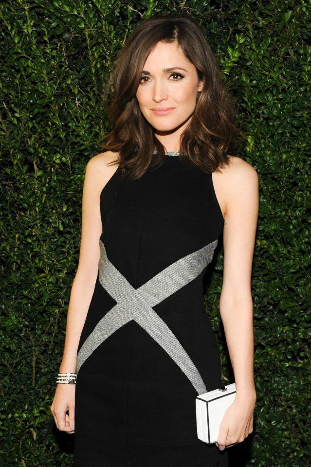 Rose Byrne wore a short black and white knit dress #Chanel #Summer #Oscar #dinner #2013 #Charles #Finch