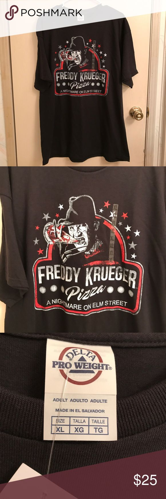 🆕 (XL) Freddy Krueger Pizza T-Shirt *Brand: Delta *Color: Black *Condition: New with tags *Size: XL *Material: 100% preshrunk cotton *Chest Size: Approximately 45 inches. *Length: Approximately 30 inches long.  ♥ I am from a smoke free home.  ♥ I have cats and a dog. I always make sure my clothing is fur free, but sometimes there could be a stray hair or two left. Delta Shirts Tees - Short Sleeve