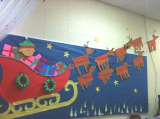 Santa's Sleigh Christmas Bulletin Board Idea