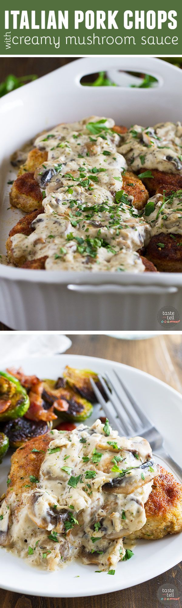 Pork chops are breaded in Italian breadcrumbs and served with a creamy mushroom sauce in this delicious dinner idea. These Italian Pork Chops with Creamy Mushroom Sauce will become an instant favorite!