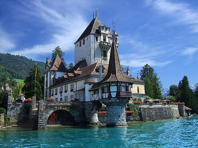 Castle in Spiez on the shores of Lake Thun near Interlaken, Switzerland.