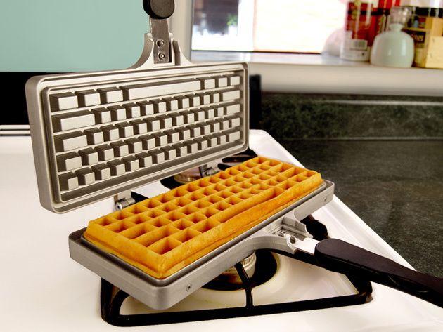 The Keyboard Waffle Iron for Making Tasty Computer Keyboard-Shaped Waffles