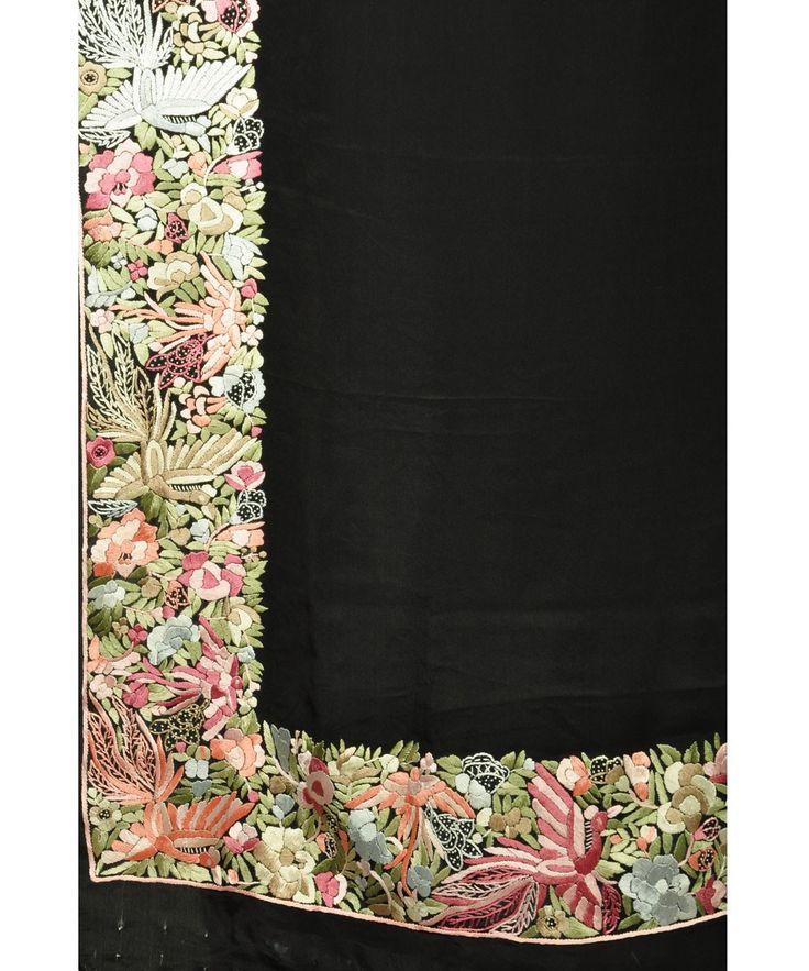 Parsi Gara Hand Embroidered Pure Crepe Saree (Made On Order)
