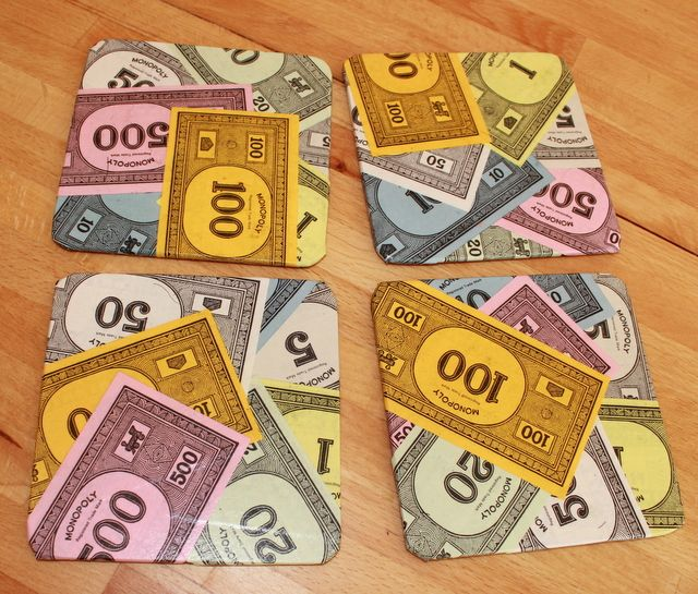 monopoly upcycle | Set of 4 Upcycled Monopoly Money Coasters