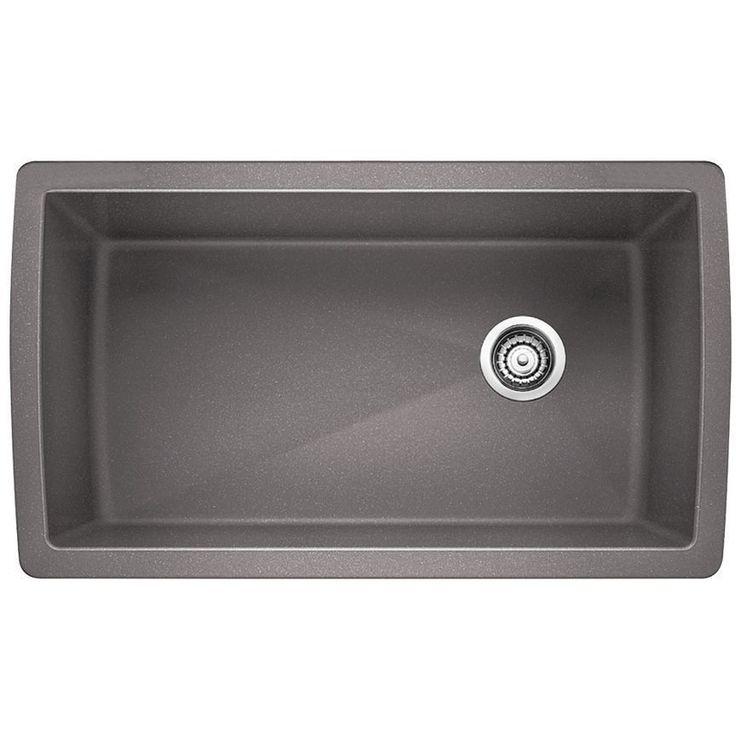 "Blanco 441770 Diamond 33 1/2"" x 18 1/2"" Single Bowl Silgranit Kitchen Sink Metallic Gray-eFaucets.com"
