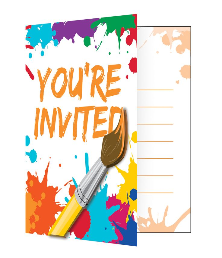 Art Party Invitations w/Envelopes - 8 Pk Party Supplies Canada - Open A Party