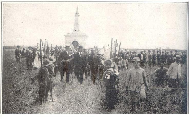 Antiguo osario de Miraflores donde estuvieron los restos de soldados peruanos fallecidos en la batalla contra Chile. 1918