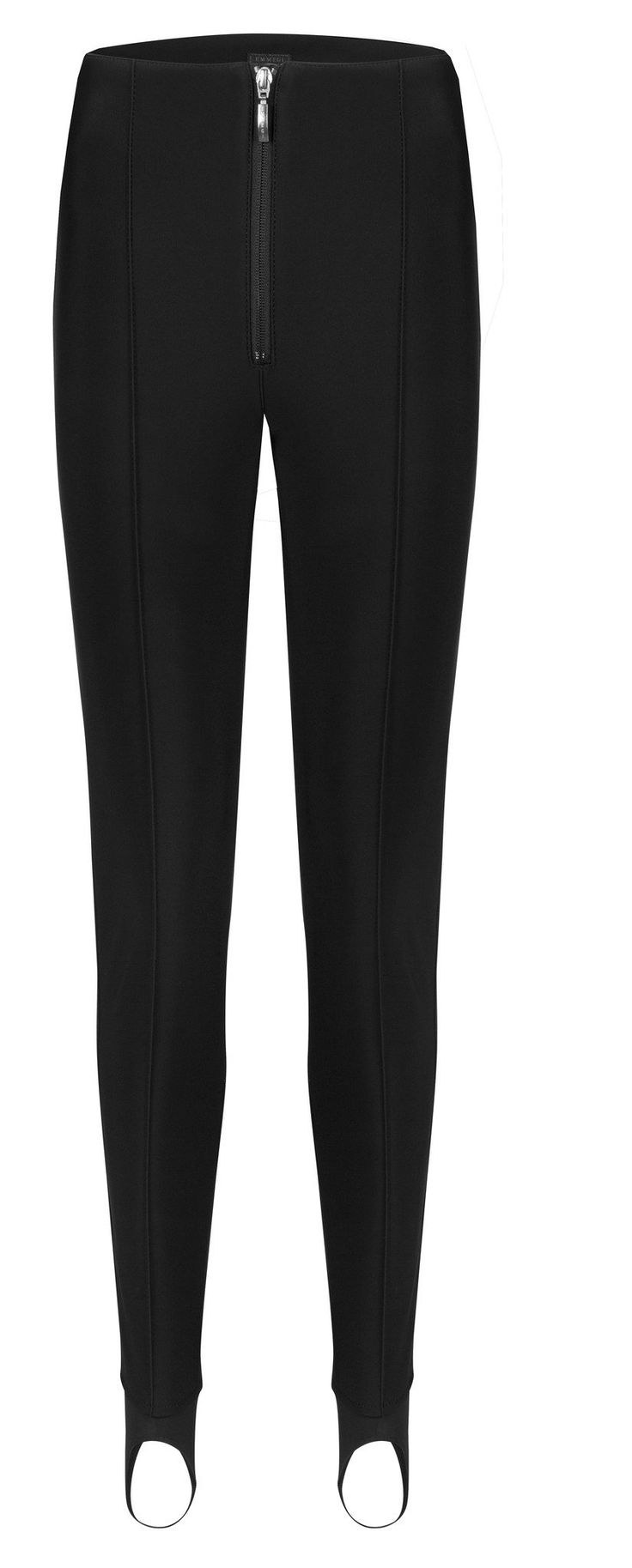 Stretch stirrup ski pant by Emmegi. Skinny ski trouser. Available in black, white or navy. Luxury ladies ski salopettes.