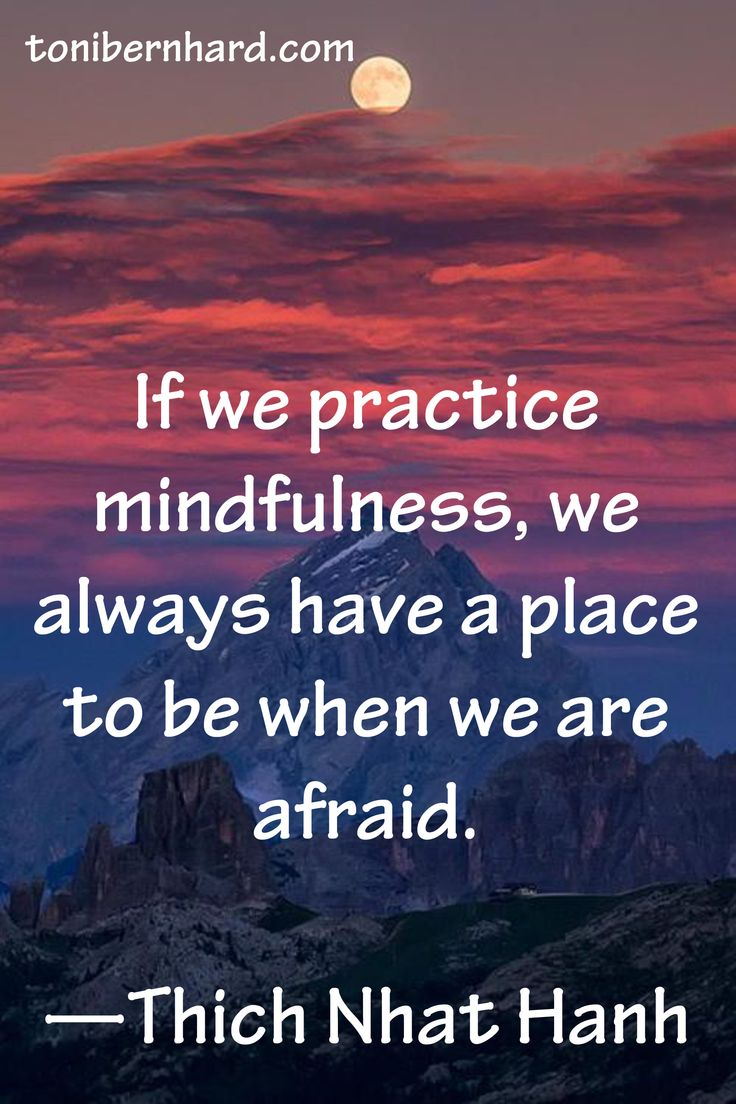 """If we practice mindfulness, we always have a place to be when we are afraid."" —Thich Nhat Hanh"