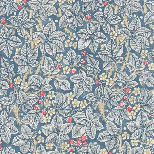 Bramble Fabric Blackberry bushes on a rich slate blue with an abundance of berries and white flowers create this wonderful design from the Morris & Co collection.