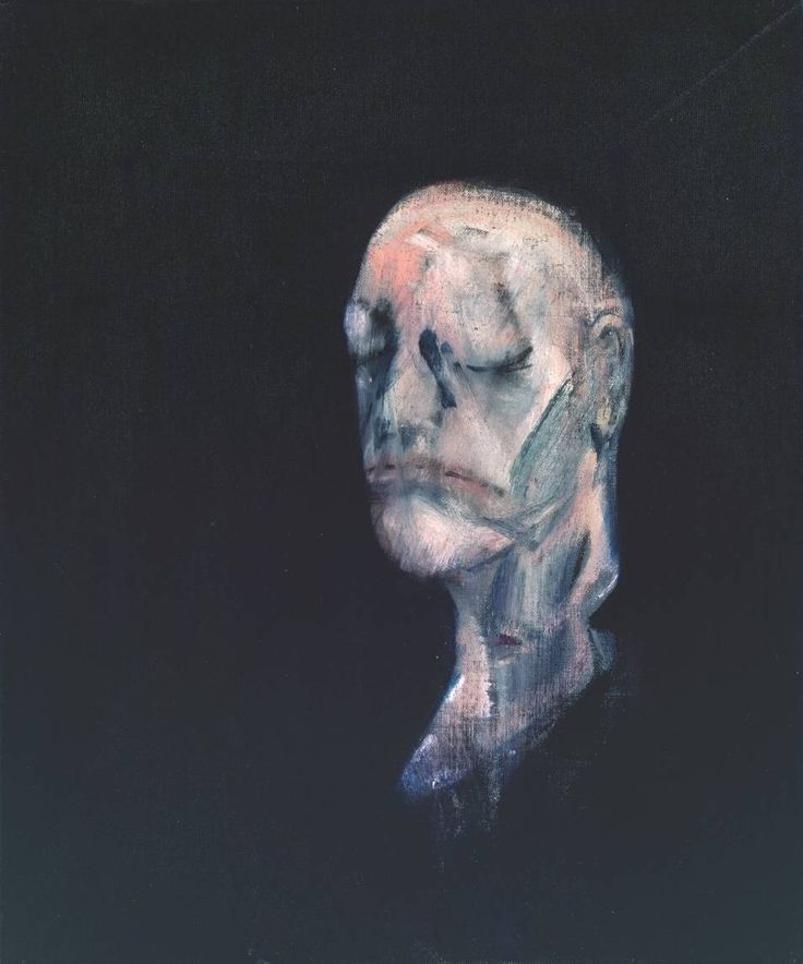 Artist : Francis Bacon (1909‑1992) Title : Study for Portrait II (after the Life Mask of William Blake) Date : 1955 Medium : Oil paint on canvas