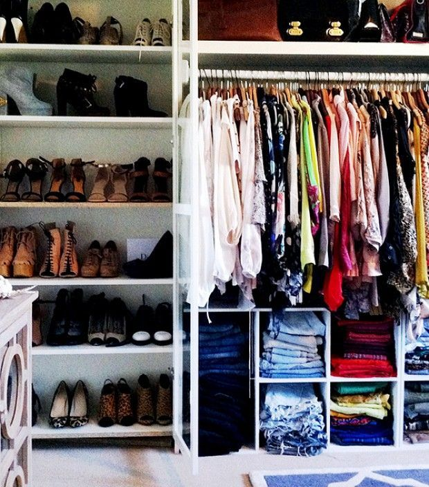 Use divided storage in the wardrobe to organise different categories of clothes. Open shelving is a great option for organising and storing your shoe collection