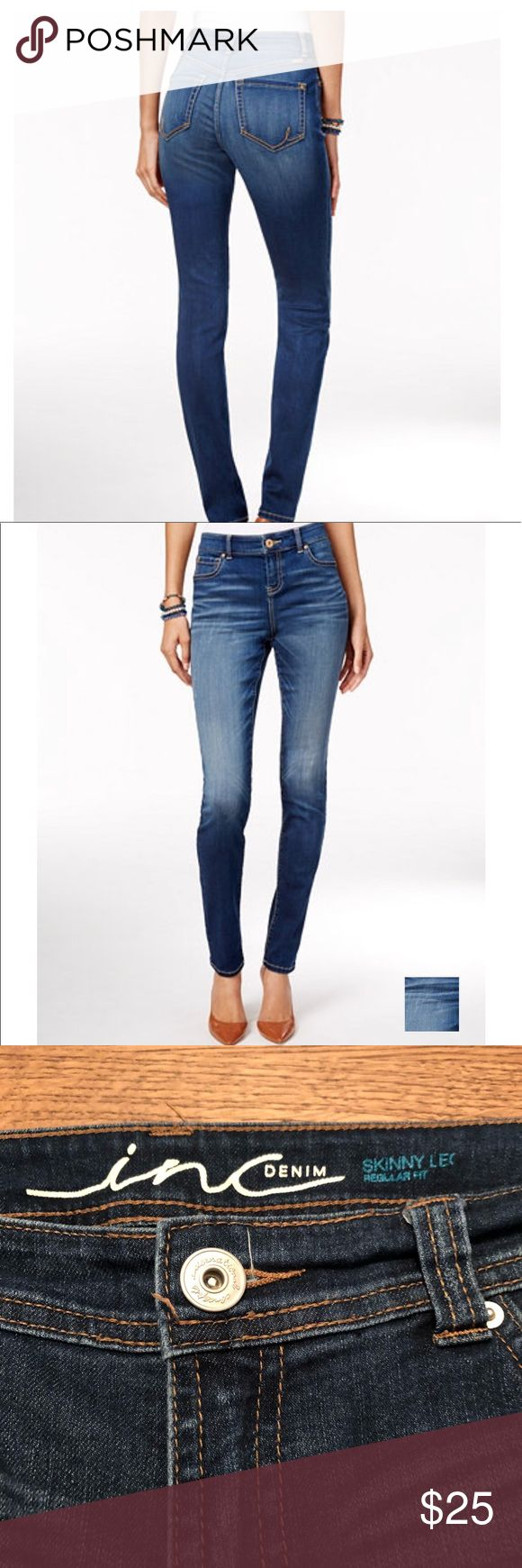 """Inc skinny jeans Inc denied m skinny leg regular fit jeans, size 8, mid rise, soft and stretchy denim, excellent condition   Inseam  31"""" Rise  8.5"""" Waist  17"""" Leg opening  6"""" Bin11 INC International Concepts Jeans Skinny"""