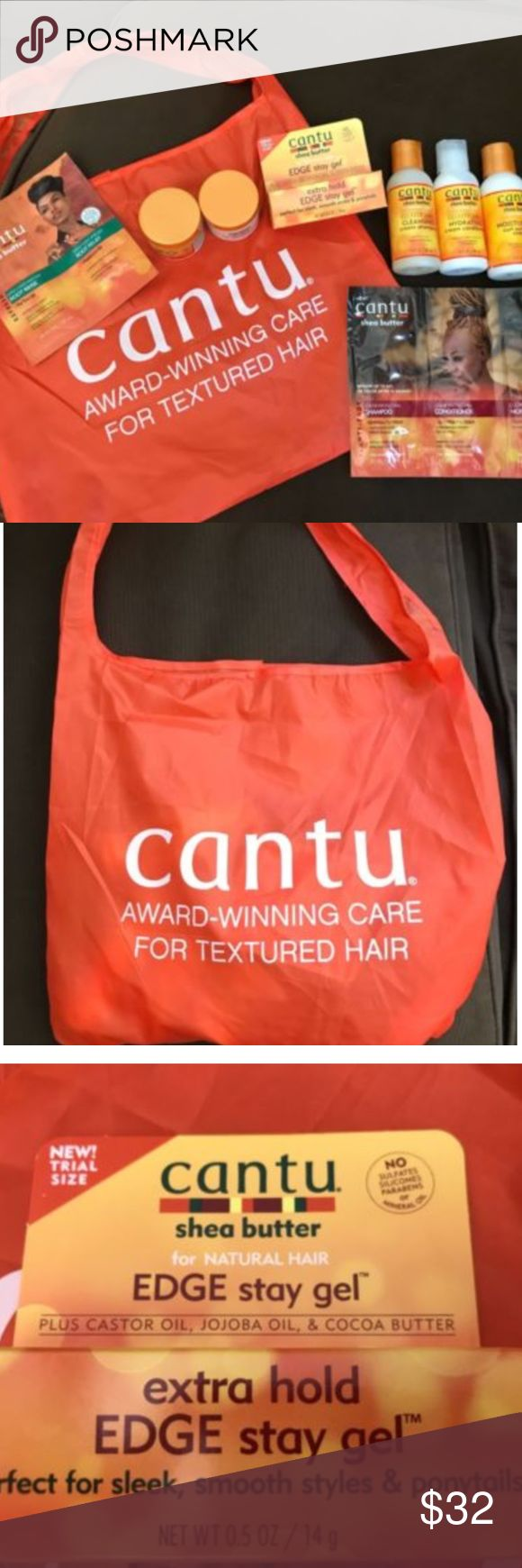 NEW - Cantu Product Sample Bag from Beautycon LA NEW - Cantu Product Sample Bag from Beautycon LA  Cantu Shea Butter for Natural Hair Sulfate Free Cleansing Shampoo 3oz Cantu Shea Butter for Natural Hair Sulfate Free Hydrating Cream Conditioner  3oz Cantu Shea Butter for Natural Hair Moisturizing Curl Activator Cream  3oz Cantu Shea Butter for Natural Hair Coconut Curling Cream 2oz Cantu Shea Butter Leave-In Conditioning Repair Cream 2oz Cantu Shea Butter for Natural Hair Edge Stay Gel .5oz…