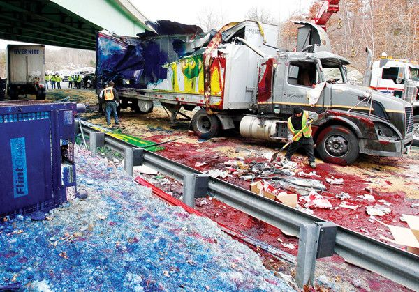 Ever wonder what happens when a truck carrying printer ink cartridges hits a low bridge?