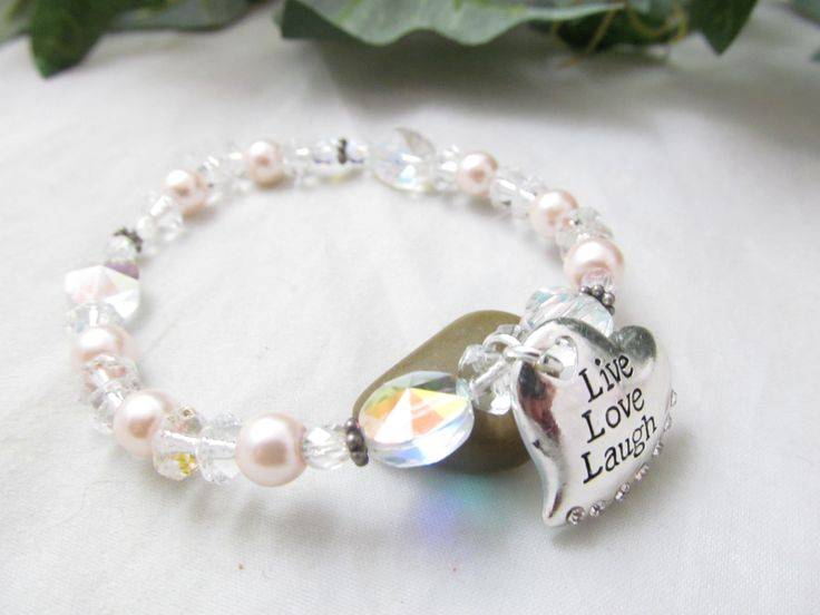 Vintage Crystal Stretch Bracelet Accented with Faux Pink Baby Pearls & Silvertone Heart Charm with Inspirational Message t Live Love Laugh by vintagejewelrycloset on Etsy