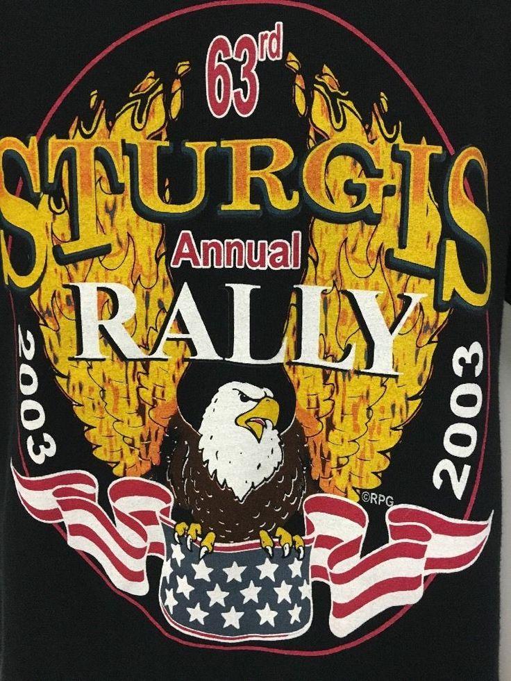 Sturgis T-shirt L 63rd Men's Bike Rally 2003 Eagle Flag Motorcycle Vintage  #FruitOfTheLoom #GraphicTee