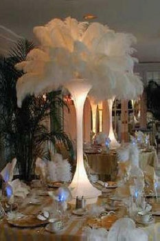 Wedding, Reception, Centerpiece, Feathers, Tablescape, Ostrich, Glam