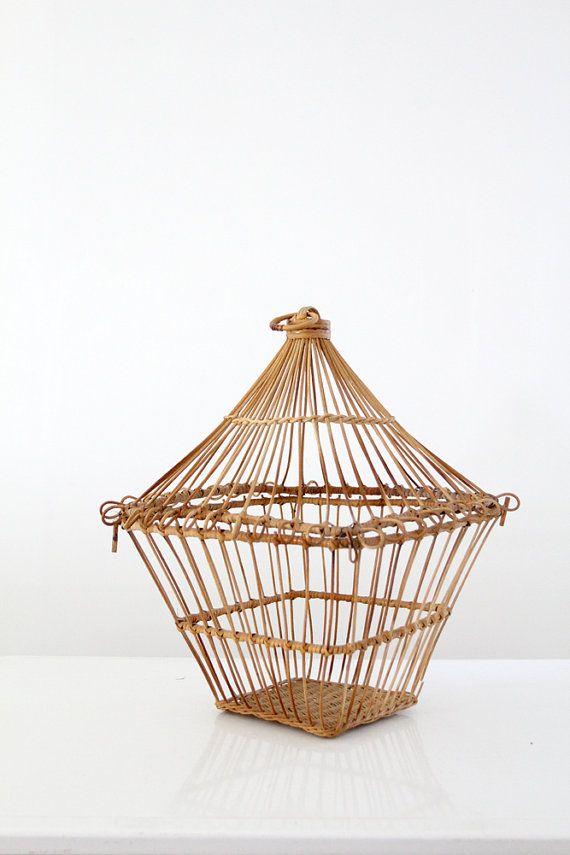 Vintage wicker birdcage woven reed bird cage by 86home for Wicker reed