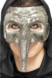 Maska WENECKA srebrna