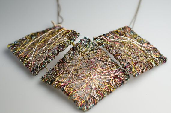 Square necklace, wire sculpture art, modern necklace, long, gold, geometric necklace, creative design, bridesmaid gift, alternative wedding  This handmade modern, long, wire sculpture, square, a geometric necklace made from colored copper wire and silver. Each square from this creative design, gold, rainbow art jewelry, is 5,5cm (2,17). The total width of this unique bridesmaid gift, for an alternative wedding, is 15cm (5,91in).And the height is 10.5cm (4.13in).