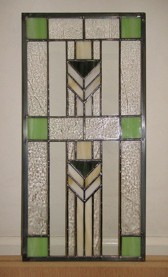 """Prairie School Style 9 3/4"""" x 18 3/4""""--Cabinet Insert Stained Glass Window Panel -"""