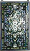 Blue Crowned Tuberose Stained Glass Window Panel (FX110) Full Image