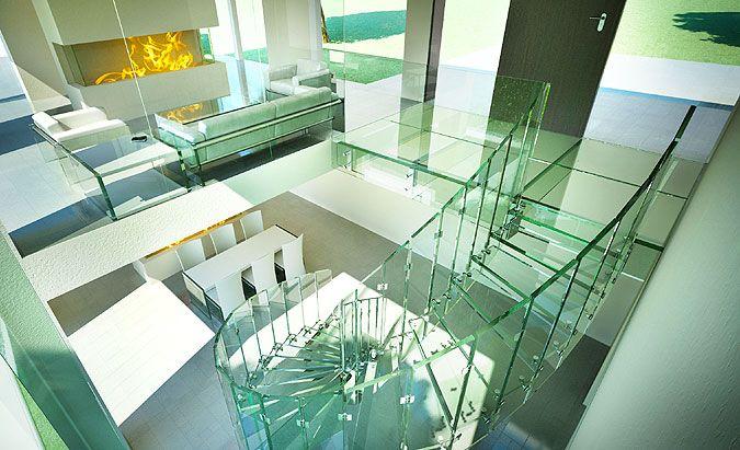 Skleněné schody - vizualizace samonosného celoskleněného schodiště Siller FLY na www.palazzio.cz