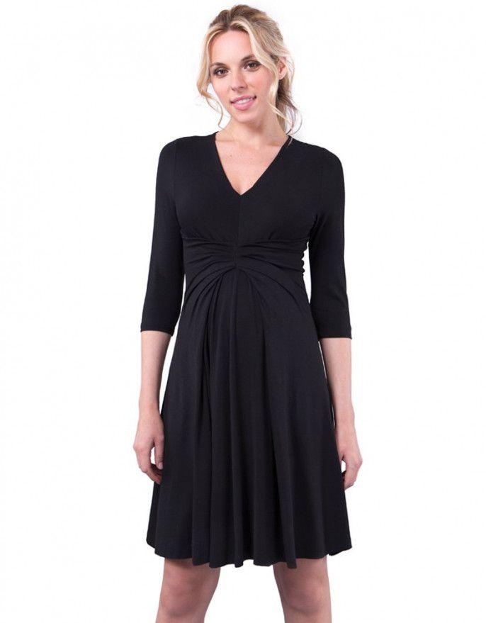 3/4 Sleeve Empire Detail Black Maternity Dress