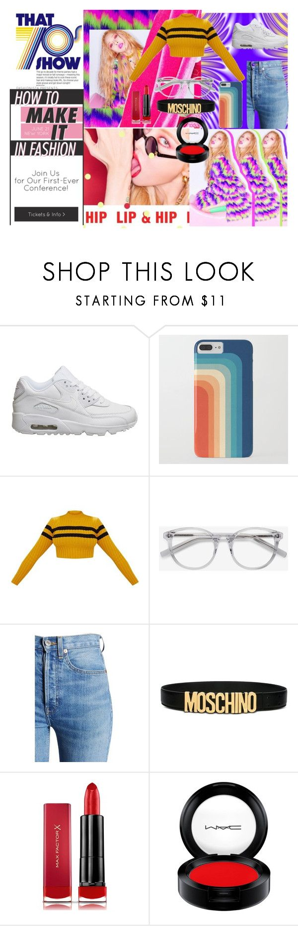 """""""Lips & Hips"""" by ingrid-ramirez-trujillo on Polyvore featuring moda, NIKE, Ace, RE/DONE, Moschino, Max Factor, MAC Cosmetics y Gucci"""