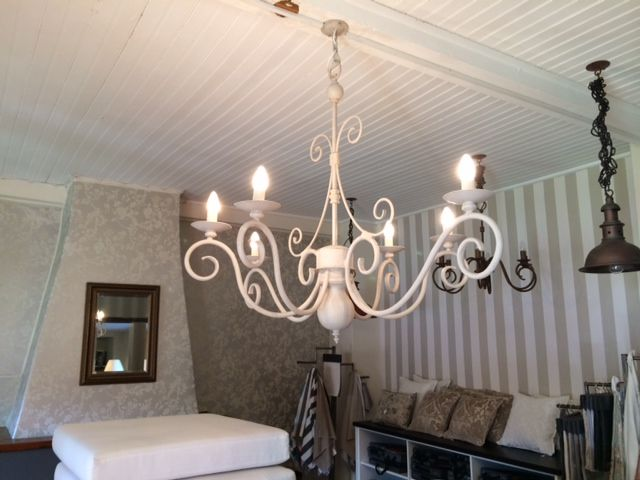Our Le Cuisine chandelier in the neutral Linen colour finish.