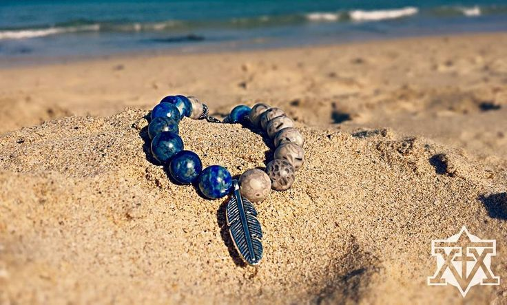 custom made Bracelet by FXMX Empire - 10mm fossil Coral and blue Lapislazuli