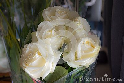 festive bouquet of white roses
