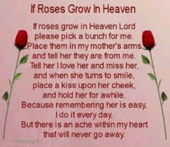 birthday poems for mothers in heaven | In Loving Memory ...