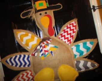 Turkey door hanger burlap chevron fall door hanger by Cutipiethis
