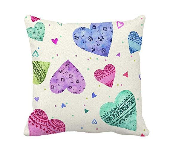 4TH Emotion Colorful Love Hearts Throw Pillow Cover Cushion Case for Sofa Couch Valentines Day Home Decoration 18 x 18 Inch Cotton Polyester