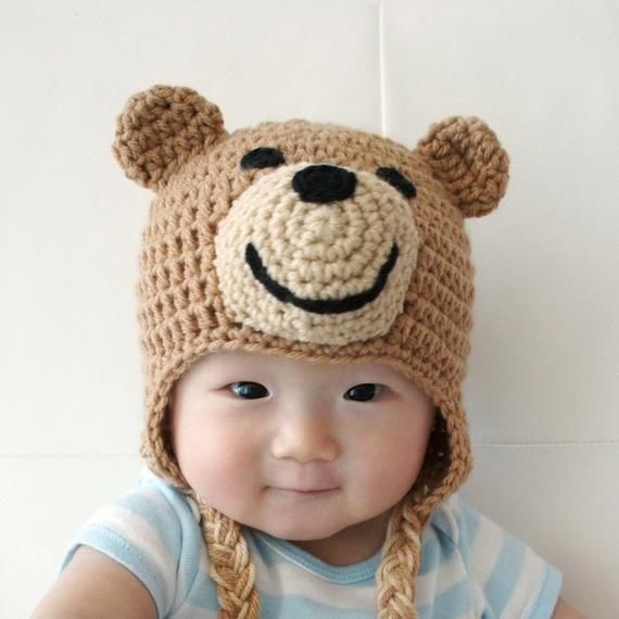 4 colors Crochet Baby Hat Hand Knitted Teddy Bear Hat Photo ... | 570x570