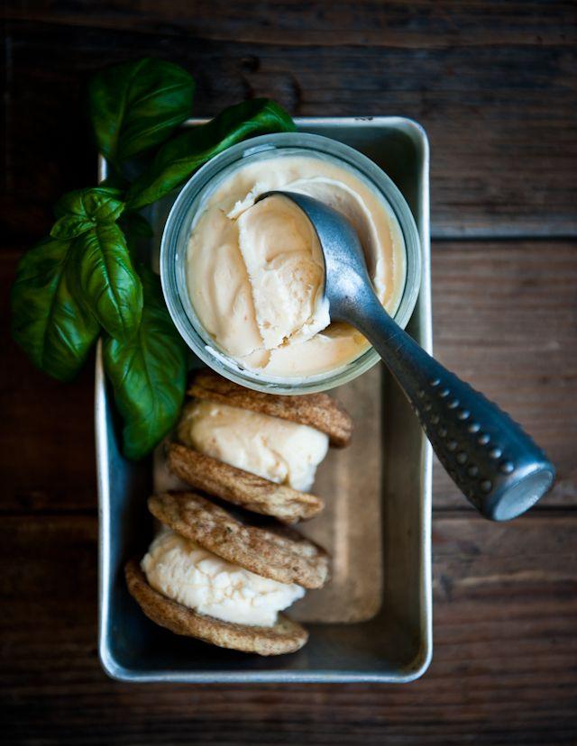 Peach Frozen Yogurt and Basil Snickerdoodle Sandwiches | Desserts for Breakfast