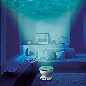 GARY&GHOST Lampe LED Projecteur Lumière Projection Éclairage d'Ambiance Romantique Océan Waves Mer Vagues Veilleuse de Nuit Night Light Projector avec Mini Haut-parleur Enceinte Lecteur MP3 Musique Entrée USB Cadeau